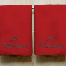 Personalised Embroidered His And Hers Ruby Anniversary Towels