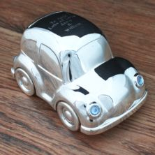 Engraved Silver Plated Toy Car Money Box