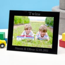 Personalised Twins Black Glass Photo Frame