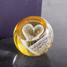 Special Moments Gold Heart Paperweight By Caithness Glass