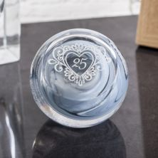 Silver Anniversary Celebration Paperweight By Caithness Glass