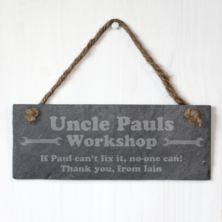 Personalised Uncle's Workshop Slate Plaque