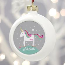 Personalised Unicorn Christmas Bauble