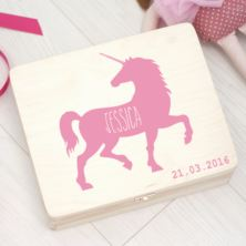 Personalised Unicorn Wooden Keepsake Box