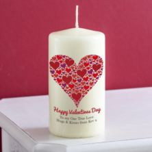 Personalised Heart Of Hearts Valentines Day Candle