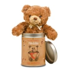 Valentines Day Love Heart Teddy in a Tin