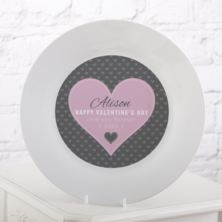 Personalised Valentine's Day Pink Heart Design Plate