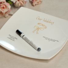 Rings And Ribbon Wedding Guest Signing Plate