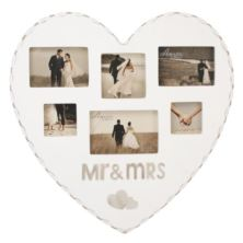 Mr & Mrs Heart Shaped Multi Aperture Frame
