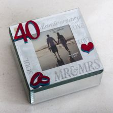 40th Anniversary Glass Trinket Box With Photo Frame