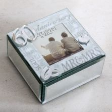 60th Anniversary Glass Trinket Box With Photo Frame
