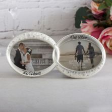 Two Hearts One Love Wedding Rings Photo Frame