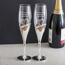 Personalised 30th Anniversary Amore 3D Lettering Champagne Flutes