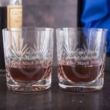 Engraved Cut Crystal Anniversary Whisky Tumblers