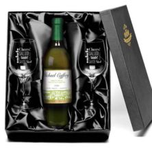 Personalised White Wine & Glasses Set
