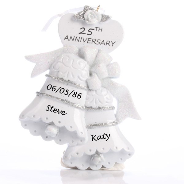25th Anniversary Personalised Bells Ornament - Silver Wedding Anniversary Gifts