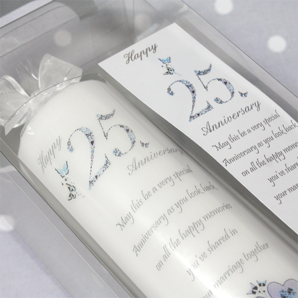25th Wedding Anniversary Candle - Silver Wedding Anniversary Gifts