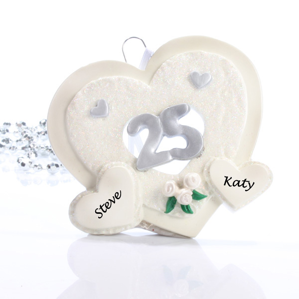 25th Anniversary Personalised Hearts Ornament - Silver Wedding Anniversary Gifts
