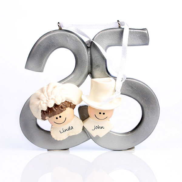 25th Anniversary Personalised Hanging Ornament - Silver Wedding Anniversary Gifts