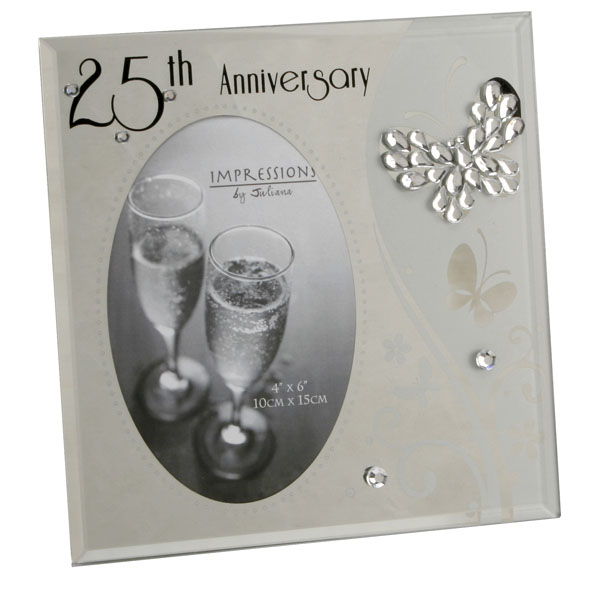 25th Anniversary Glass and Crystal Photo Frame - Silver Wedding Anniversary Gifts