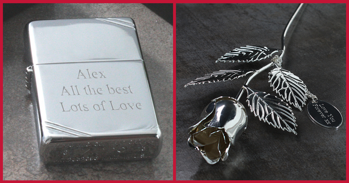 Vintage Chrome Zippo Lighter & Personalised Silver Plated Rose
