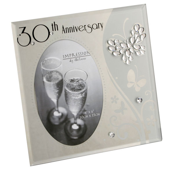 30th Anniversary Glass and Crystal Photo Frame - 30th Gifts