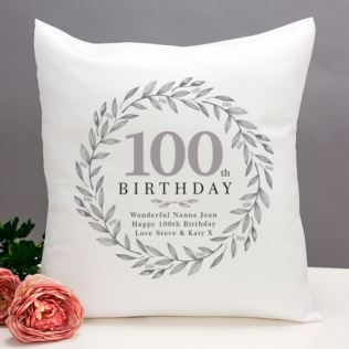 Personalised 100th Birthday Cushion Product Image