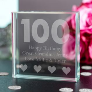 100th Birthday Glass Keepsake Product Image