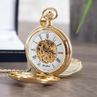 Personalised Gold Plated Skeleton Pocket Watch Product Image