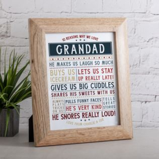 Personalised 10 Reasons We Love Grandad Framed Print Product Image