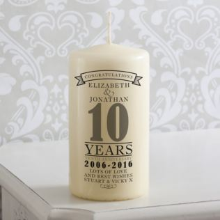 Personalised 10th Anniversary Candle Product Image