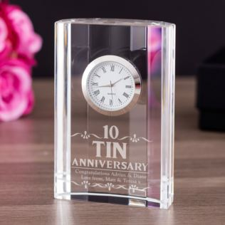 Engraved Tenth Wedding Anniversary Mantel Clock Product Image