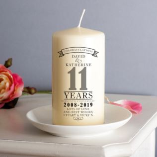 Personalised 11th Anniversary Candle Product Image