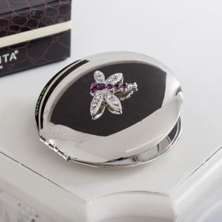 Engraved Rainbow Crystal Dragonfly Compact Mirror Product Image