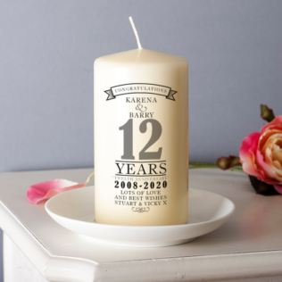 Personalised 12th Anniversary Candle Product Image