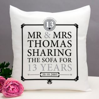 Personalised 13th Anniversary Sharing The Sofa Cushion Product Image