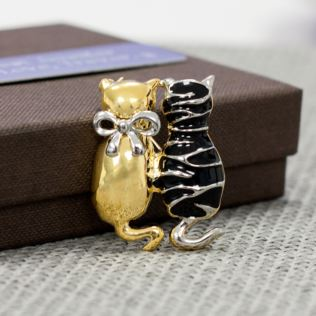 Black And Gold Cats Brooch In Personalised Box Product Image