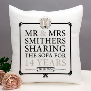 Personalised 14th Anniversary Sharing The Sofa Cushion Product Image
