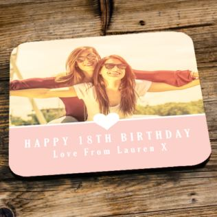 Personalised 18th Birthday Pink Photo Coaster Product Image