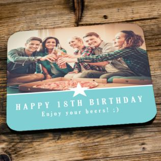 Personalised 18th Birthday Blue Photo Coaster Product Image