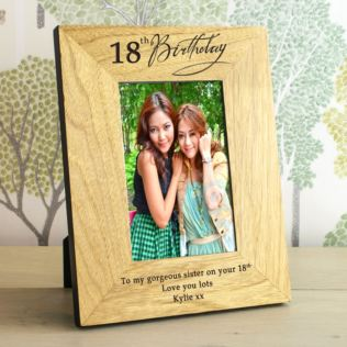 18th Birthday Wooden Personalised Photo Frame Product Image