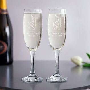 Personalised 1st Anniversary Champagne Flutes Product Image