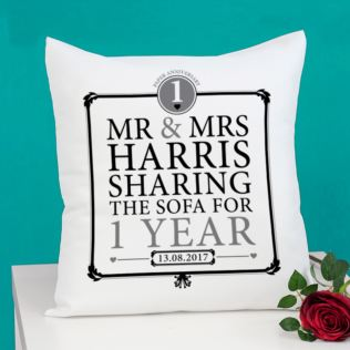 Personalised 1st Anniversary Sharing The Sofa Cushion Product Image
