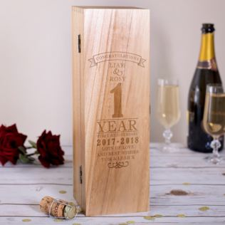 Personalised 1st Wedding Anniversary Luxury Wooden Wine Box Product Image