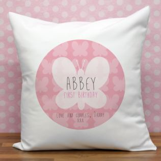 Personalised First Birthday Butterfly Cushion Product Image