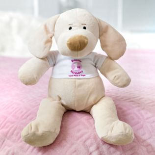 Personalised 1st Birthday Puppy Soft Toy - Girl Product Image