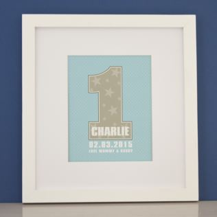 Personalised Boys First Birthday Framed Print Product Image