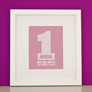Personalised Girls First Birthday Framed Print Product Image