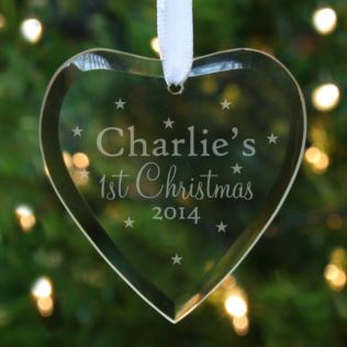 Personalised Babys 1st Christmas Star Design Hanging Glass Heart Product Image