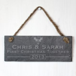 Personalised 1st Christmas Together Slate Plaque Product Image